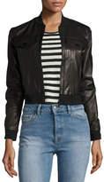 J Brand Harlow Zip-Front Leather Jacket, Black