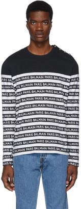 Balmain Black and White Logo Stripe Long Sleeve T-Shirt