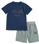 Calvin Klein Jeans Boys 2-7 Two-Piece Tee and Cargo Shorts Set