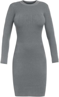 Cliché Reborn Knit Bodycon Long Sleeve Dress In Grey