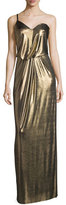 Halston One-Shoulder Metallic Jersey Column Dress, Bronze