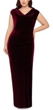 Xscape Evenings Plus Size Drape-Front Velvet Gown