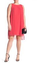 London Times Chiffon Jersey Sleeveless Shift Dress (Plus Size)