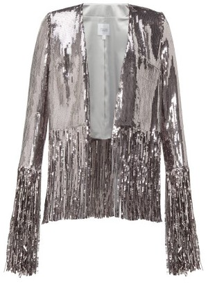 Galvan Stardust Fringed Sequinned Jacket - Womens - Silver