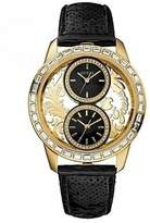 GUESS W20015L1 Women's Dual Time Gold Tone Brocade Black Leather Sequin Strap Watch