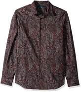 Perry Ellis Men's Long Sleeve Multicolor Paisley Print Shirt