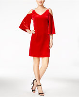 MSK Embellished Velvet Cold-Shoulder Dress