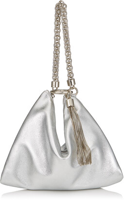 Jimmy Choo CALLIE Silver Metallic Leather Clutch Bag