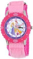 Disney Kids' W000365 Princess Stainless Steel Time Teacher Pink Bezel Pink Nylon Strap Watch