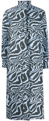 Ganni Tiger Swirl Print Long-Sleeved Dress