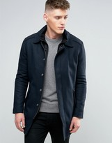 Calvin Klein Jeans Wool Blend Overcoat With Inner Lining