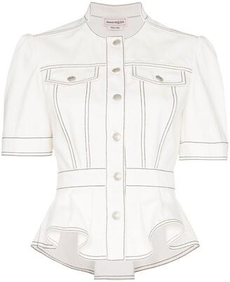 Alexander McQueen Peplum denim jacket