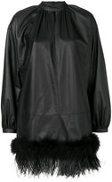 Fausto Puglisi trim mini dress - women - Silk/Lamb Skin/Acetate/Turkey Feather - 40