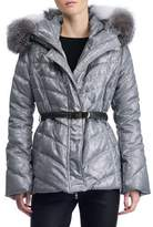 Gorski Hooded Quilted Puffer Après-Ski Jacket with Fox-Fur Trim