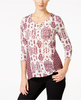 Style&Co. Style & Co. Petite Lace-Up Printed Top, Only at Macy's
