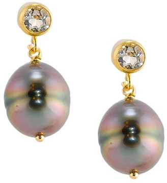 Amy Holton Designs Tahitian Pearl & White Topaz Earrings