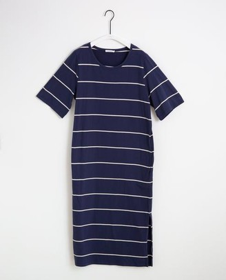 Beaumont Organic Ellie Sue Organic Cotton Dress In Midnight Natural - Midnight & Natural / Extra Small