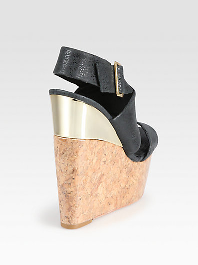 Alice + Olivia Steffie Leather Cork Wedge Sandals