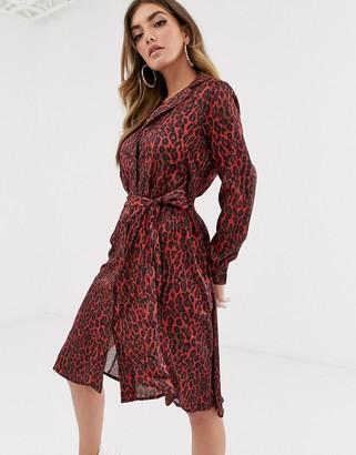 NA-KD Na Kd leopard print tie satin dress-Red
