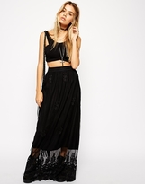 Asos Embroidered Maxi Skirt In Lace