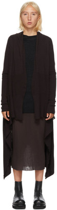 Rick Owens Burgundy Wool Long Wrap Cardigan
