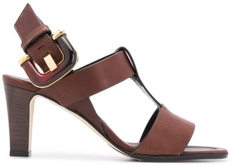 Manolo Blahnik T-Strap Buckled Sandals