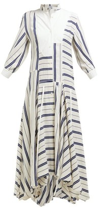 Loewe Handkerchief-hem Striped Linen-blend Midi Dress - Womens - White Navy
