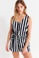 Lucca Couture Amber Striped Button-Down Romper