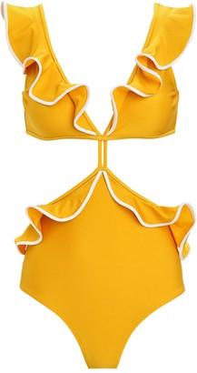 Shani Shemer Swimwear Sahara Ruffled Cut-Out One-Piece Swimsuit