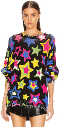 R 13 Stars Oversized Sweater in Multi Stars | FWRD