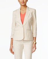 Nine West One-Button Seersucker Ruched-Sleeve Jacket
