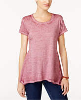 Style&Co. Style & Co Style & Co Petite Burnout Handkerchief-Hem T-Shirt, Created for Macy's