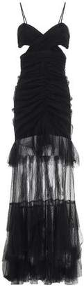 Alice McCall Cutout Ruched Embroidered Tulle Gown