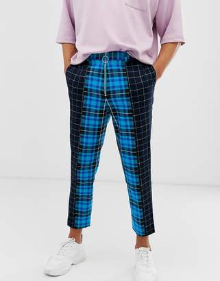 Asos Design DESIGN tapered crop smart trousers in contrast blue checks with metal zip fly