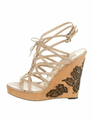 Valentino Leather Embroidered Accent Sandals Purple