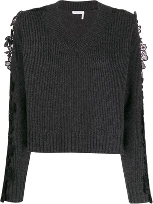 See by Chloe Floral Lace Panel Sweater
