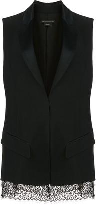 Kiki de Montparnasse Sleeveless Lace Hem Silk Tuxedo Jacket