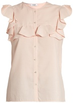 Vilshenko Layla striped silk and cotton-blend top