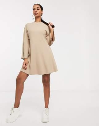 Asos Design DESIGN rib oversized smock dress-Beige