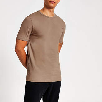 River Island Stone slim fit crew neck T-shirt
