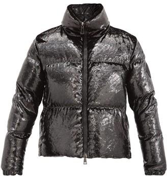 Moncler Rimac Metallic-velvet High-neck Quilted Jacket - Black