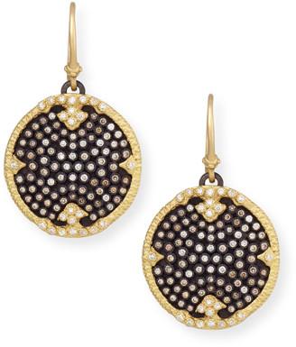 Armenta Old World Midnight Pave Diamond Disc Earrings