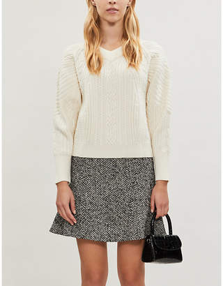 Claudie Pierlot Puffed-sleeve cable-knit wool jumper