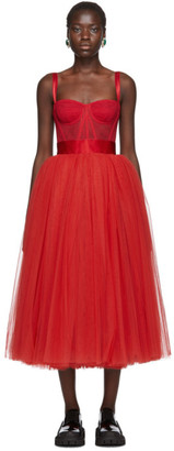 Dolce & Gabbana Red Tulle Bustier Dress
