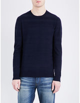 Armani Jeans Contrast-texture Knitted Jumper