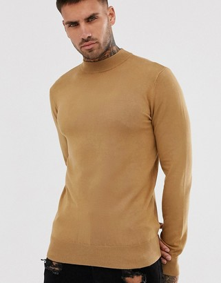 Gianni Feraud Premium Muscle Fit Stretch Turtle Neck Fine Gauge Jumper