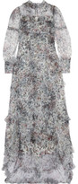 Erdem Stacey Ruffled Floral-print Tulle Gown - Gray