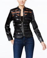 INC International Concepts Petite Faux-Leather Striped Illusion Jacket, Only at Macy's