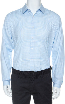 Gucci White And Blue Checked Cotton Button Front Slim Fit Shirt XL