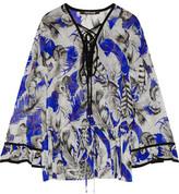 Roberto Cavalli Lace-Up Ruffled Printed Silk-Georgette Top